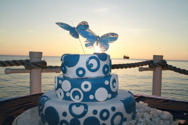 A Beautiful Wedding Cake Prepared by the Wharf Restaurant