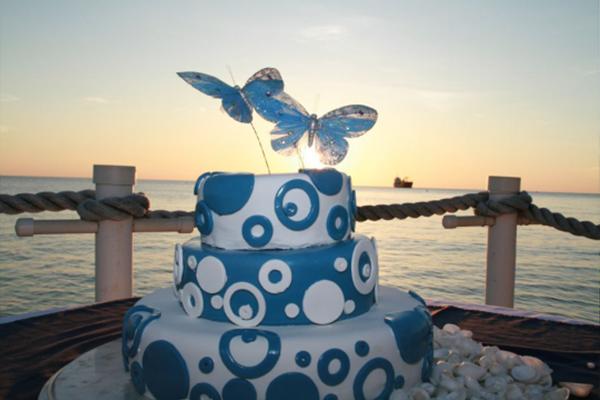 A Beautiful Wedding Cake Prepared by the Wharf Restaurant